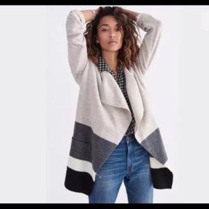 wool color block cardigan